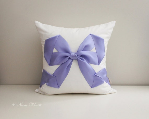 Decorative Pillow With Bow : White Pillow Decorative Pillow Bow Pillow Wedding Pillow