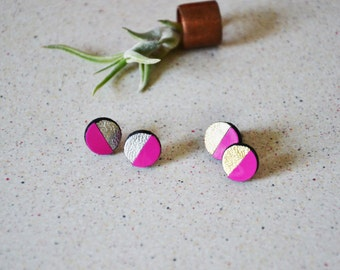 Geometric stud earrings, Pink leather studs, Round stud earring, Flashy earrings, Neon studs, Minimal earrings, Valentines for her