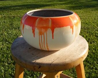 1960's/70's Pottery Mtl, Large drip glaze Pottery bowl