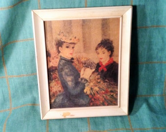 Vintage Picture of Parisian Women - Marked Flower Marked, Huldah - French artwork - Shabby Chic Decor