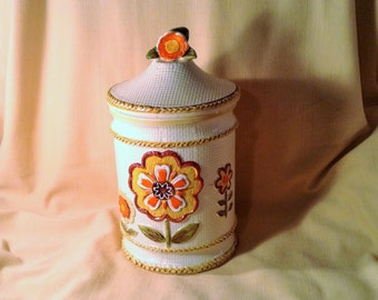 Large Mod Flower Cookie Jar - Retro Floral Kitchen - Burlap Style Background with Orange & Yellow Flowers