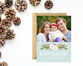 Photo Holiday Card, Merry and Bright, Flower Christmas Card, Personalized Photo Card