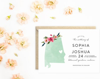 Alabama Wedding Invitations, State Invitations, Mint Watercolor with Flowers