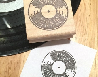 Vinyl Record Rubber Stamp, Vinyl Junkie, Record Collector Stamp, Record Rubber Stamp, Vinyl Record Collector Stamp, block stamp