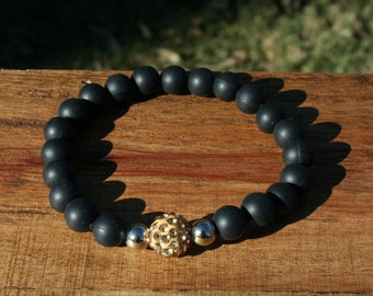 Black Silicone Bracelet - Gold or Black or White - 8mm beads
