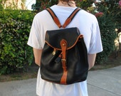 Vintage Dooney & Bourke Leather Backpack - Black and Tan