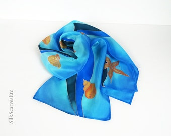 Seashell silk scarf, Hand painted summer scarf, Blue nautical scarf, Turquoise blue silk scarf, Beach theme wedding gift, Blue waves scarf