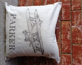 PERSONALIZED Vintage Airplane Pillow Cover, faux LINEN name Pillow, Baby Shower Gift, Vintage Airplane Decor, Pillowcase ONLY