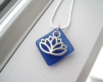 Lotus Flower Necklace - Lotus Flower Jewelry - Cobalt Blue Necklace - Dark Blue Jewelry - Yoga Jewelry -  Yoga Lotus - Yoga Necklace