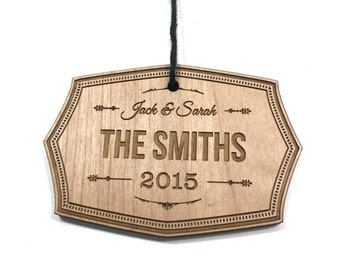 Family Christmas Ornament / Custom Engraved Wood / Personalized Wedding / Holiday / Newlywed Couple