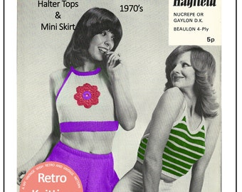 1970s Mini Skirt and Halter Top Vintage Knitting Pattern - PDF Instant Download