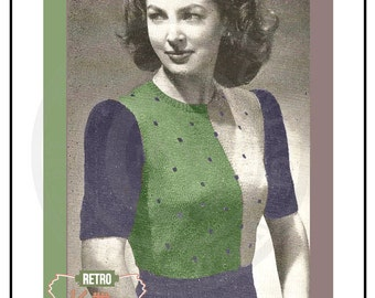 1940s Parti-Colored Sweater Knitting Pattern - PDF Instant Download