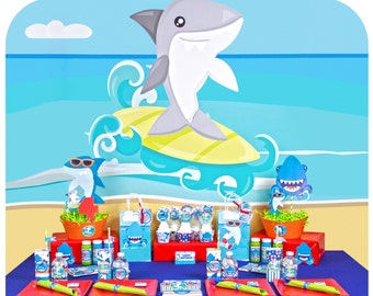 Shark Party; Shark Birthday Party; Shark Birthday Party for 12 Printed, Cut, and Shipped to you! Shark Birthday Party: Shark Party; Sharks