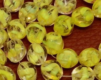11mm,  Lemon Yellow OR Sunny Yellow with Clear Glass Nugget Beads, 11x9 to 11x10mm Yellow Glass Beads, Full Strand