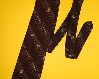 """56"""" Nordstrom Brown Stripe Lined Necktie"""