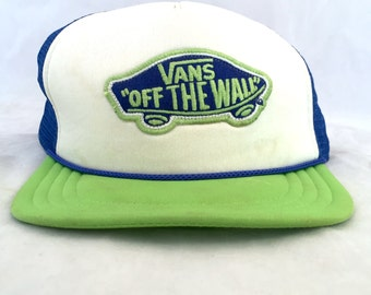 Vans Trucker Style Cap, Vans Off the Wall Snapback, Blue, Green, White Snapback Hat, Mesh Back Embroidered Patch Skater Skateboard