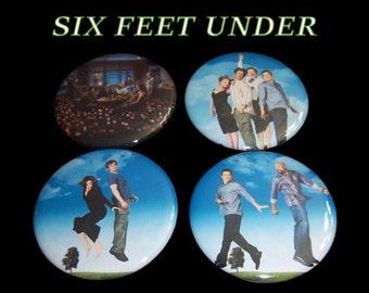 """Six Feet Under Set of 4 Pinback Buttons 2 1/4"""""""