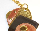 Mixed Metal Steel Brass Copper Abstract Riveted Pendant Necklace