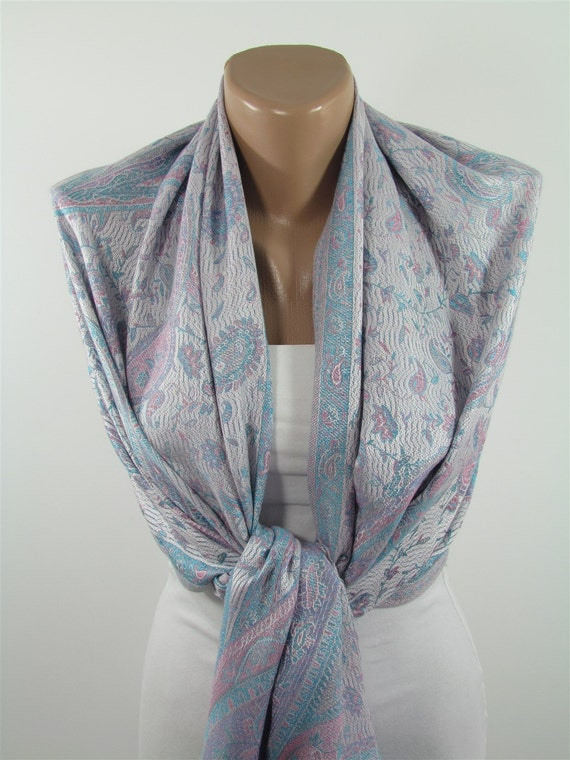 paisley pashmina scarf cowl scarf shawl scarf by miracleshine