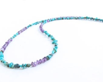 Turquoise Amethyst Necklace - Amethyst Turquoise Necklace