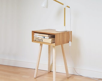 Mid-century Bedside Table Oak Scandinavian Style Night Stand | Vintage Bedside Table | Retro Bedroom Furniture | Moving Gift Bed Side Table