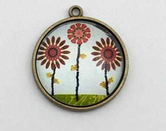 1 flower glass pendant bronze tone, 31mm # Pen 182