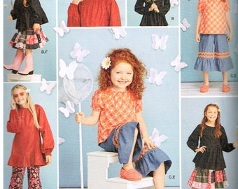 Simplicity 1180, Sewing Pattern,  Scientific Seamstress, Girl's Tops, Pants and Skirt, Size 3, 4, 5, 6