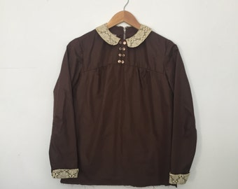 70's Brown Lace Blouse