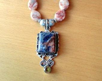Sea Sediment Jasper Necklace, Sterling Silver Jasper Pendant & Jasper Bead Necklace