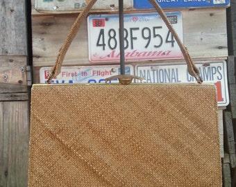 ON SALE! Vintage Woven Raffia Handbag 1960's 60's Rockabilly Retro