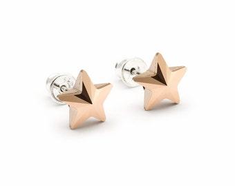 Rose Gold Star Stud Earrings Swarovski Crystal Post Earrings Minimalist Sterling Silver Stud Earrings Small Simple Tiny Star Post Earrings