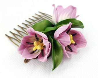 SALE! Romantic Handmade Hair Comb «Realistic Pink Tulips Flowers» made from Polymer Clay - Not fragile - Anniversary Gift