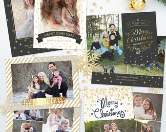 SAVE 45% - Bundle Holiday Christmas Card Templates for Photographers - 5x7 Holiday Photo Cards 06 - C297, Instant Download