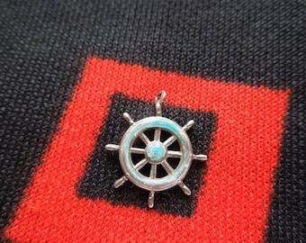 Enamel Sterling Ships Wheel Charm Vintage Ships Wheel Charm Sterling Silver Charm for Bracelet from Charmhuntress 03290