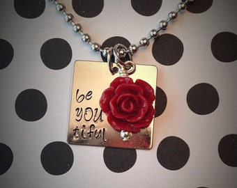 be YOU tiful necklace with colored flower dangle charm