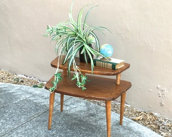 Mid-Century Solid Wood Two Tier End Table