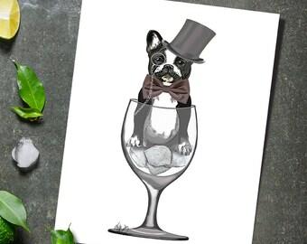 French Bulldog Gift Wine Glass French Bulldog Print French Bulldog Art funny dog print pet lover gift for husband mens wine lover gift