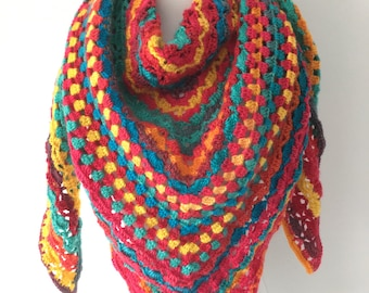 Crochet shawl Rainbow colors