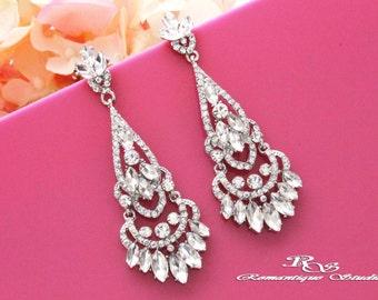 Statement wedding earrings vintage style rhinestone bridal earrings crystal chandelier earrings wedding jewelry bridal jewelry 1240