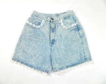 Vintage Denim Lace High Waist Shorts
