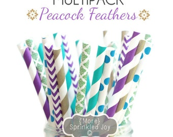 PEACOCK FEATHERS Gold, Green, Purple, Teal, Blue, Multipack, Chevron, Dots, Damask, Vintage, 25 Straws, 5 Designs