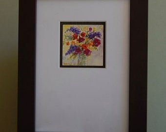 """Original Watercolor Painting on Clayboard """"Garden Bouquet"""" by Camille Collins, in Greens and Blues, Reds, Purple, Orange Floral"""