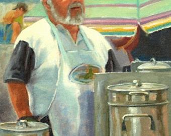 Figurative oil painting,  11 x 14, portrait, impressionist, cooking, kitchen, chef, cook-off, man, summer,  original art by DJ Lanzendorfer