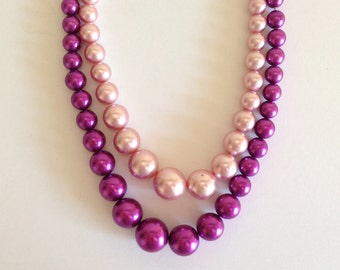 Vintage Pink & Purple Two Strand Pearl Necklace