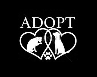 Adopt T Shirt, Dog & Cat Rescue Adoption  (Sweatshirt, Quilt Fabric Block, Tote Bag, Apron, Hoodie, Pillowcase Available On Request)  #999j