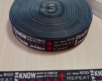7/8 inch Grosgrain Ribbon - Crossfit Graffiti Words
