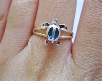 Hawaiian Turtle Blue Sterling Silver Ring Size 8 and 1/2