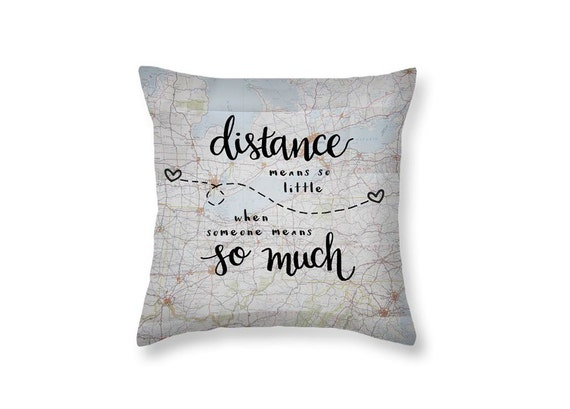 Throw Pillows Quilted : Long Distance Gift Love Quotes Decorative Throw Pillows Long
