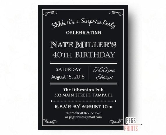 Mens 40th Surprise Birthday Invitation