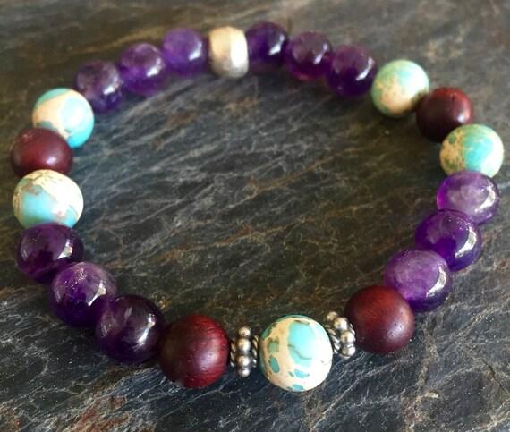 Wrist Mala Amethyst Rosewood Sea Sediment Jasper Mala Bracelet, Bali Sterling Silver, Stretch Bracelet Stackable Bracelet Yoga Jewelry